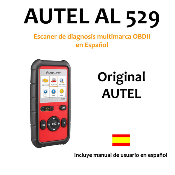 ESCANER DE DIAGNOSIS MULTIMARCA OBDII + O2 CAN-BUS ESPAÑOL AUTEL AL529